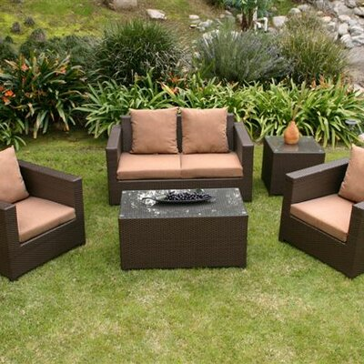 AIC Garden & Casual Metro 5 Piece Deep Seating Group with Cushions