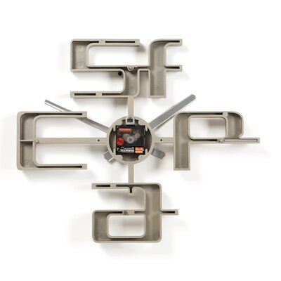 "Umbra Big Time 18"" Geometric Molded Clock in Nickel"