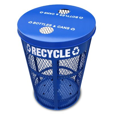 Witt Expanded Metal Outdoor Recycling Receptacle in Blue