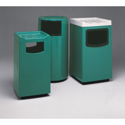 Witt Fiberglass Series 36 Gallon Square Food Court Receptacle with Doors on Trash Opening and Side