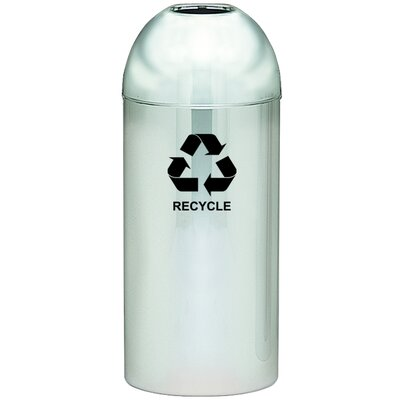 Witt Monarch Series Open Top Dometop Recycling Container, Polished Chrome with Recycle Logo