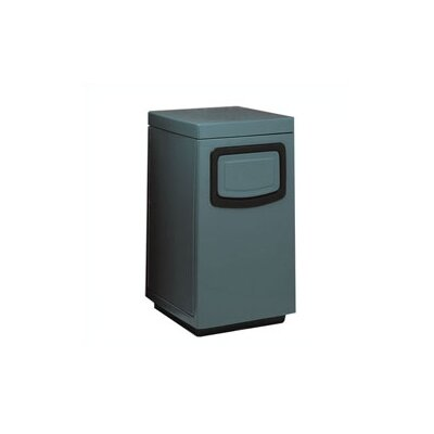 Witt Fiberglass Series 30 Gallon Side Entry Square Receptacle with Doors on Trash Openings