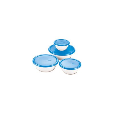 Sterilite 8 Piece Covered Bowl Set in White and Blue