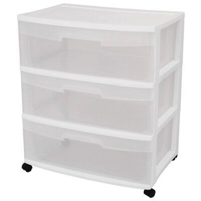 Sterilite 3 Drawer Wide Storage Cart
