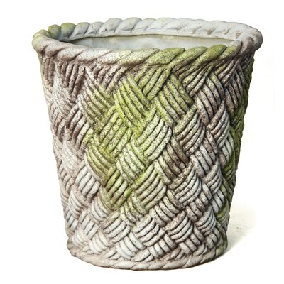 OrlandiStatuary Small Nied Weave Basket Round Planter
