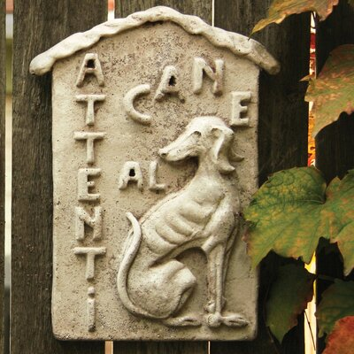 OrlandiStatuary Animals Beware of Dog Plauque Wall Decor