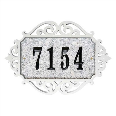Qualarc Decorative Scroll and Rectangle Granite Address Plaque Set