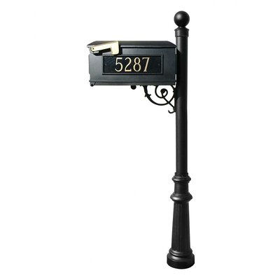 Qualarc Lewiston Fluted Base and Ball Finial Post Mailbox