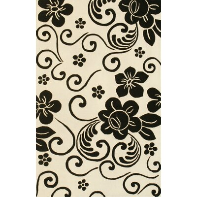Noble House Floral White/Black Rug