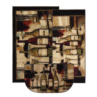 New Wave Wine And Glasses Novelty Rug (Set of 3)