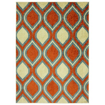 Mohawk Select Woodgrain Orange Stylin Ogee Rug