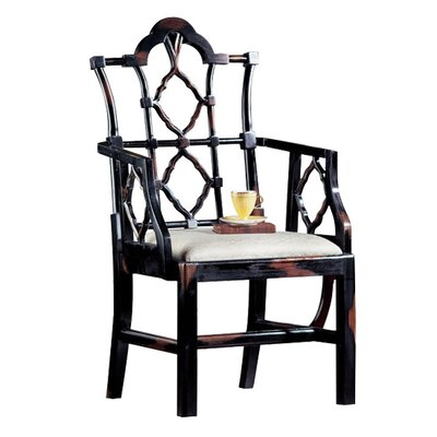 Chinese Chippendale Fabric Arm Chair