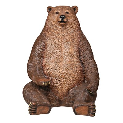 Sitting Pretty Oversized Brown Bear with Paw Seat Statue