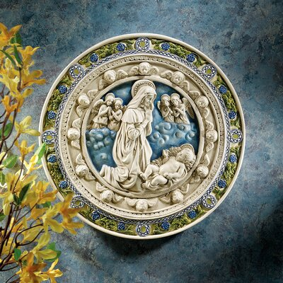 Adoration of the Child Roundel Wall Sculpture in Stone