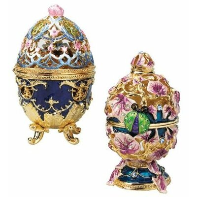 The Royal Garden Faberge-Style 2-Piece Enameled Egg Set