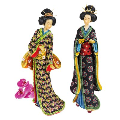 2-Piece Japanese Geisha Statue Set