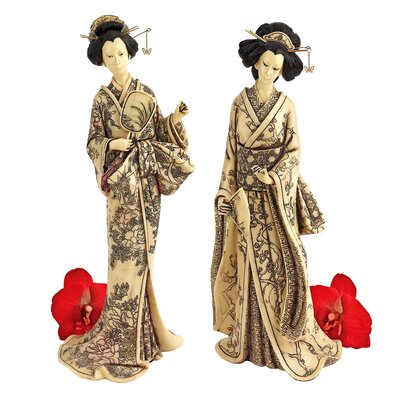 2-Piece Japanese Okimono Geisha Statue Set in Faux Ivory