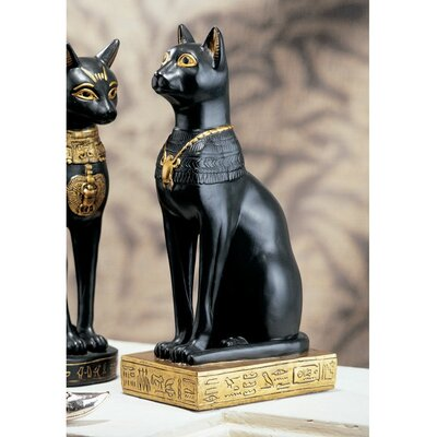 Egyptian Cat Goddess Bastet Statue in Matte Black