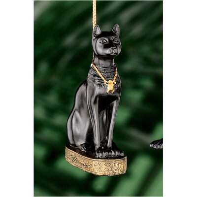 Design Toscano Bastet Egyptian Holiday Ornament in Faux Ebony and Gold