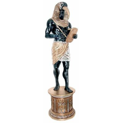 Design Toscano The Egyptian Grand Ruler Life-Size Thoth Statue Atop a Temple Column Mount
