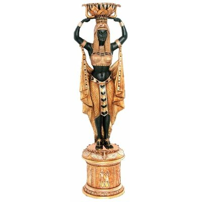 Design Toscano Cleopatra's Egyptian Nubian Maiden Grand-Scale Statue Atop a Temple Column Mount with Urn