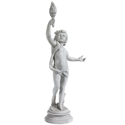 Design Toscano Lighting the Heavens Grande Right Arm Raised Cherub Sentinel Statue