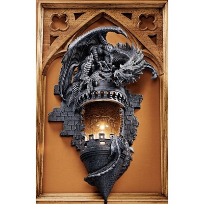 Design Toscano Dragon's Castle Lair Sculptural Wall Sconce