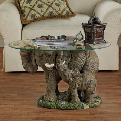 Elephant's Majesty Coffee Table with Glass Top