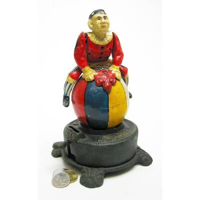 Authentic Spinning Acrobat Clown on Globe Mechanical Bank Figurine