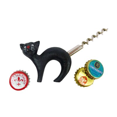 Design Toscano Cat Bottle Opener with Corkscrew Tail