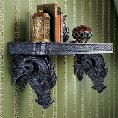 Design Toscano The Wolfram Dragons Sculptural Wall Shelf