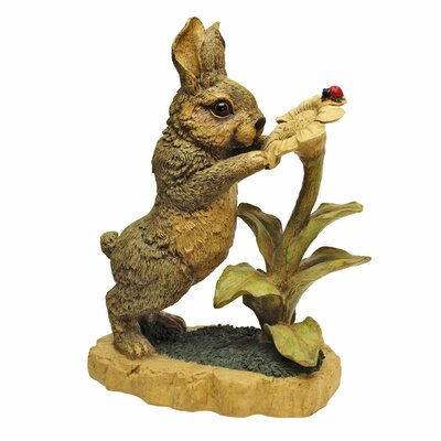 Standing Bunny with Flower Garden Statue