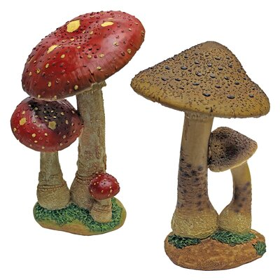 Mystic Forest Mushroom Statue (Set of 2)