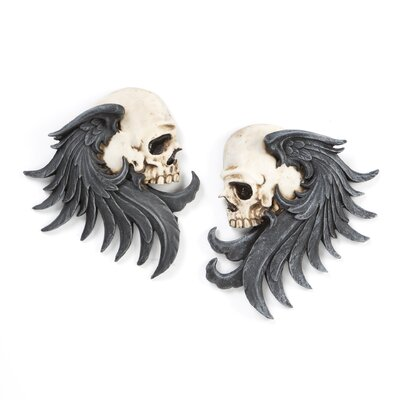 Bad to the Bones Winged Skull Sentinel Wall Sculpture (Set of 2)