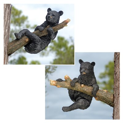 Up a Tree Black Bear Cubs Climbing and Hangings Statue Set
