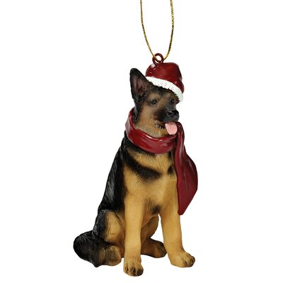 Design Toscano German Shepherd Holiday Dog Ornament Sculpture