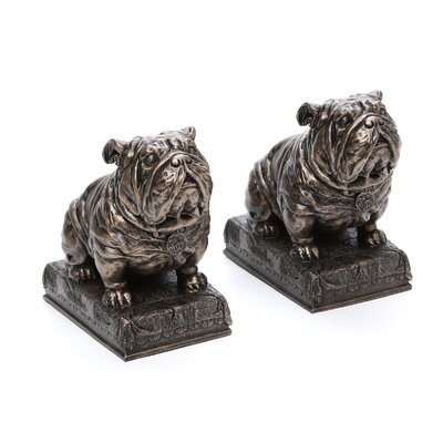 Design Toscano Bulldog Mascot Bookend in Antique Faux Bronze (Set of 2)