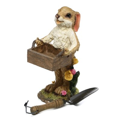 Design Toscano Rabbit with Box Birdfeeder Statue