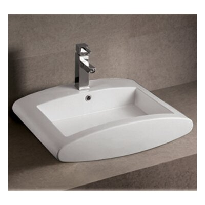 Isabella Rectangular Bathroom Sink with Overflow and Center Drain - WHKN1099