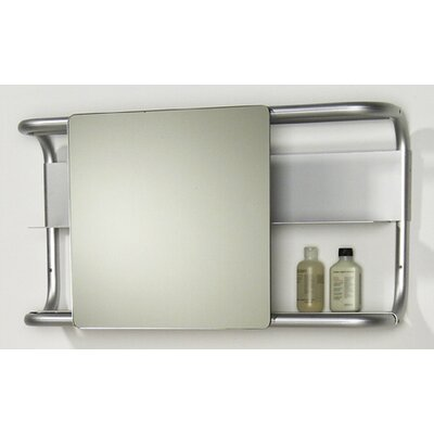 Aeri Rectangular Wall Mount Aluminum Frame with Two Shelves and Sliding Mirror