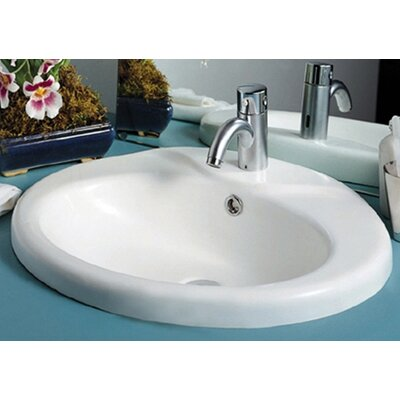 Whitehaus Collection China Sly Oval Bathroom Sink with Overflow
