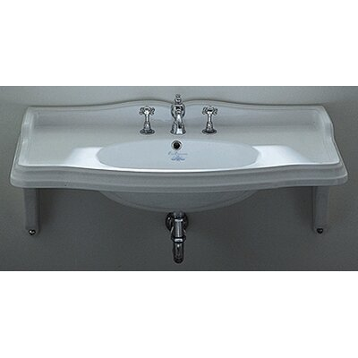 China Wall Mount Rectangular Bathroom Sink with Ceramic Shelf Supports - AR874-MNSLEN