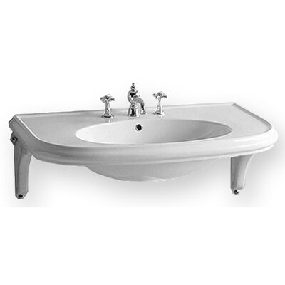 China Wall Mount U-Shaped Bath Basin with Ceramic Shelf Supports