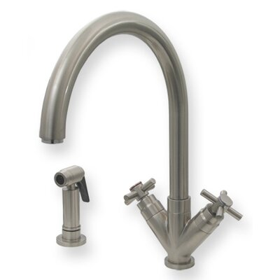 "Whitehaus Collection Luxe Two Handle Single Hole Kitchen Faucet with ""V"" Shaped Cross Handles"