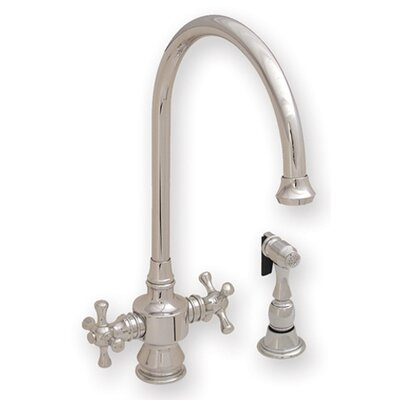 Vintage III Two Dual Handle Single Hole Kitchen Faucet with Cross Handle and Side Spray ...