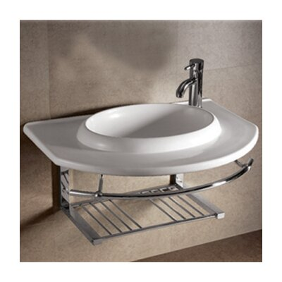 Isabella Large Rectangular Bowl Bathroom Sink with Chrome Shelf and Towel Bar - WHKN1124