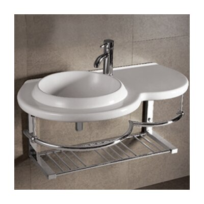 Isabella Large Round Bowl Bathroom Sink with Chrome Shelf and Towel Bar - WHKN1125