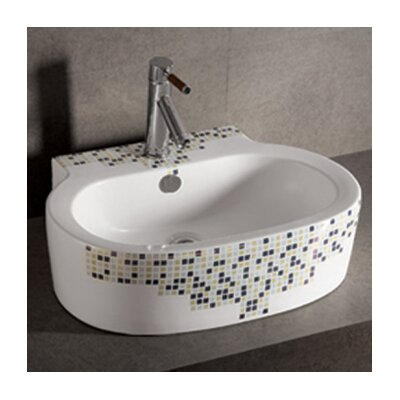 Isabella Decorative Tile Oval Bathroom Sink with Center Drain - WHKN4046-03