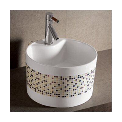 Isabella Decorative Tile Round Bathroom Sink with Center Drain - WHKN4045-03