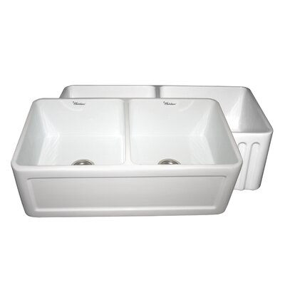"Whitehaus Collection Farmhaus 33"" x 18"" Double Bowl Farmhouse Kitchen Sink"